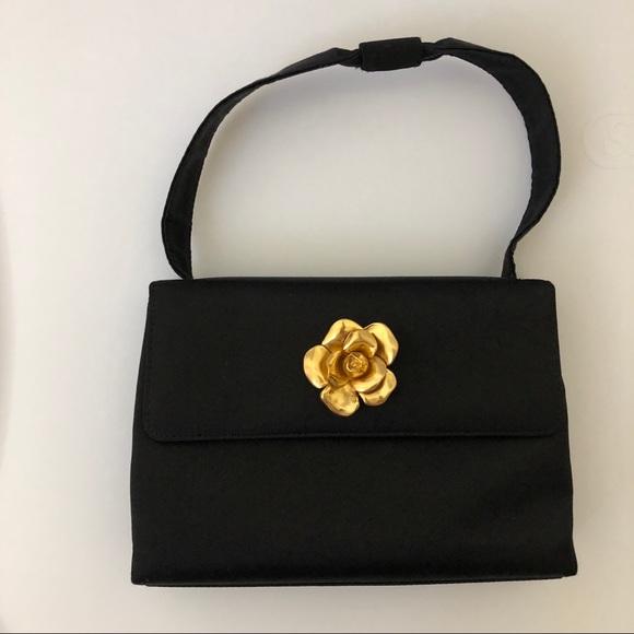 6eb5c2f6fb27 CHANEL Bags | Handbag Vintage Black Satin Camellia | Poshmark